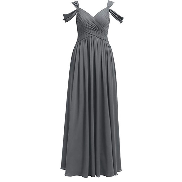 faa7cef30be AWEI Pleated Chiffon Bridesmaid Dress Long